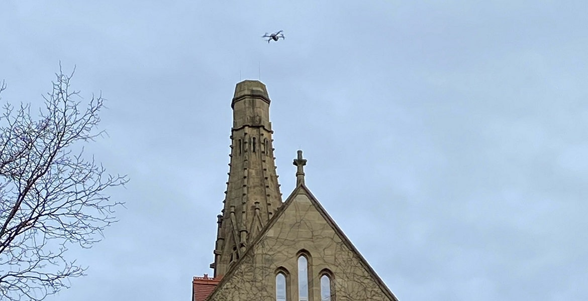 drone over university of manchester