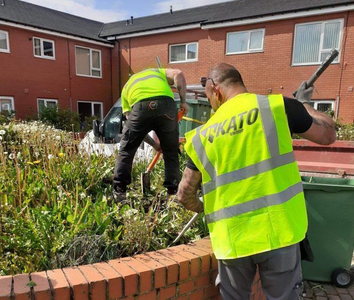 The Novus Wrexham team transform communal garden area