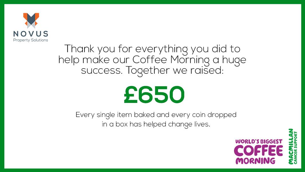 NOVUS COFFEE MORNING RAISES £650 FOR MACMILLAN CANCER SUPPORT